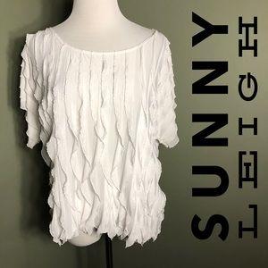 L Sunny Leigh shirt with fluttery vertical ruffles